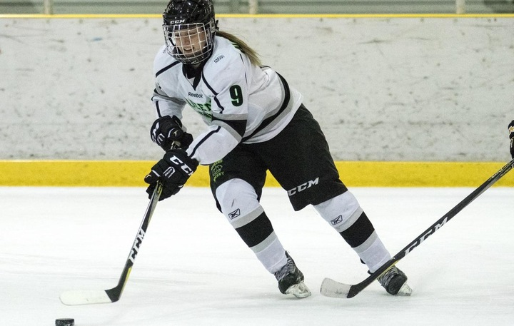 Keinyn Nordell (9) scored once against SAIT in Calgary. Photo - Tony Hansen