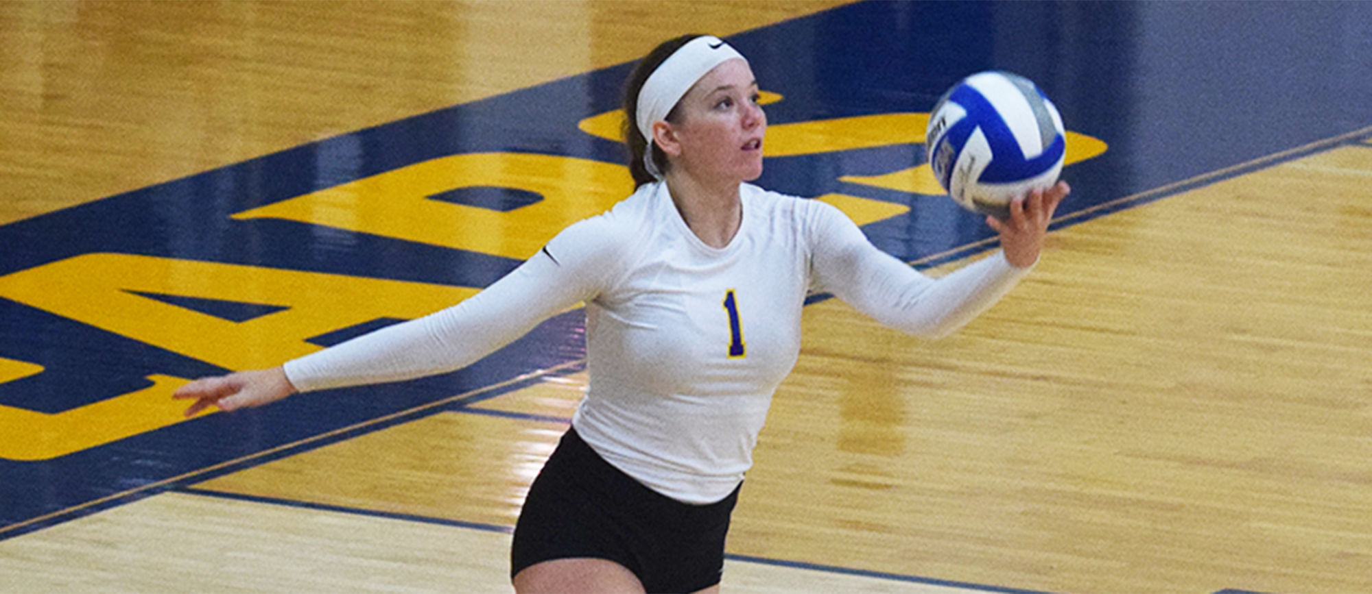 Sophomore Hailey McDonnell totaled 15 kills on Saturday as the Golden Bears split matches with Eastern Connecticut and Westfield State. (Photo by Courtney Carlson)
