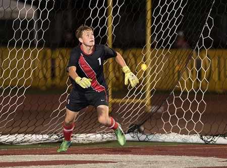 Sophomore goalie Shane Pitcock and the Vaquero defense registered their second straight shutout and seventh of the season. (Photo by Ken Sciallo / Sevilla Photography)