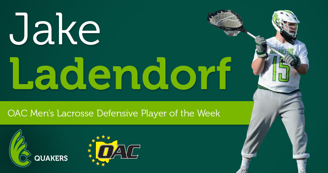 Ladendorf Named OAC Men's Lacrosse Defensive Player of the Week
