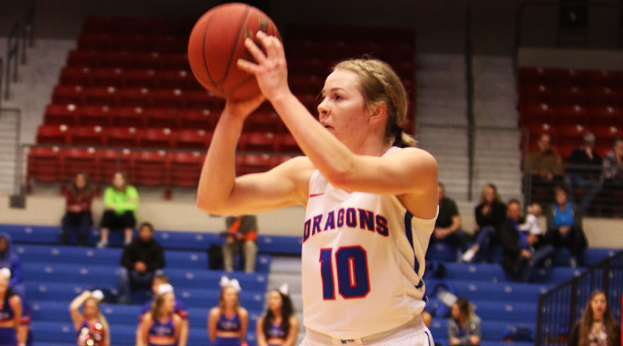 Sara Cramer hits a career-high six 3-pointers and the Blue Dragons hit a season high 12 as Hutchinson defeats Barton 72-53 on Saturday at the Sports Arena. (Joel Powers/Blue Dragon Sports Information)