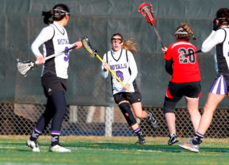 Junior attacker Deanna Giorno (8) had a goal and three assists in Scranton's 16-5 win over Neumann on Monday afternoon.