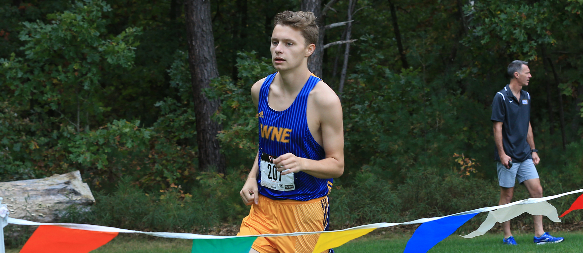 Adam Monroe finished 12th overall as the Golden Bears won the team title at the Elms Blazer Classic on Saturday. (Photo by Doug Steinbock)