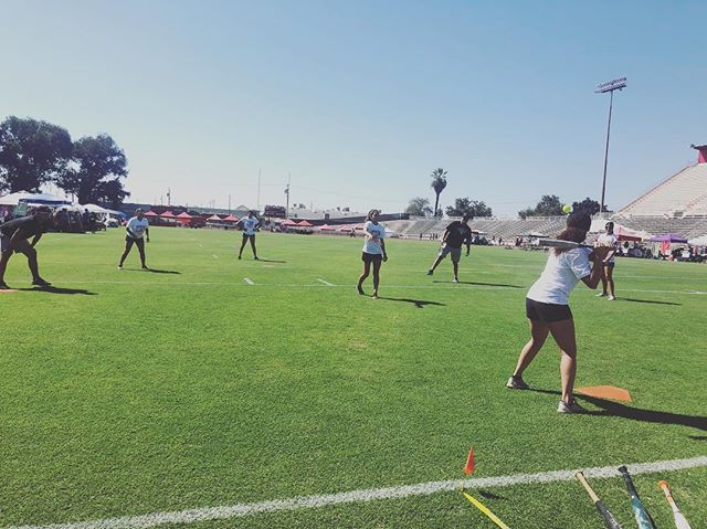 Women's Softball squares off against Baseball in a match of whiffle ball