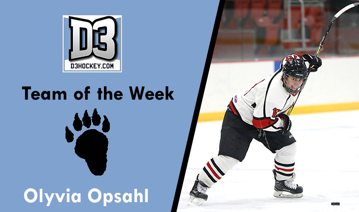 Olyvia Opsahl Named to D3hockey.com Team of the Week
