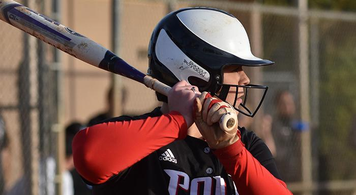 Meghan Lindell had seven hits and eight RBI as the Eagles won two games against Hillsborough. (Photo by Tom Hagerty, Polk State.)