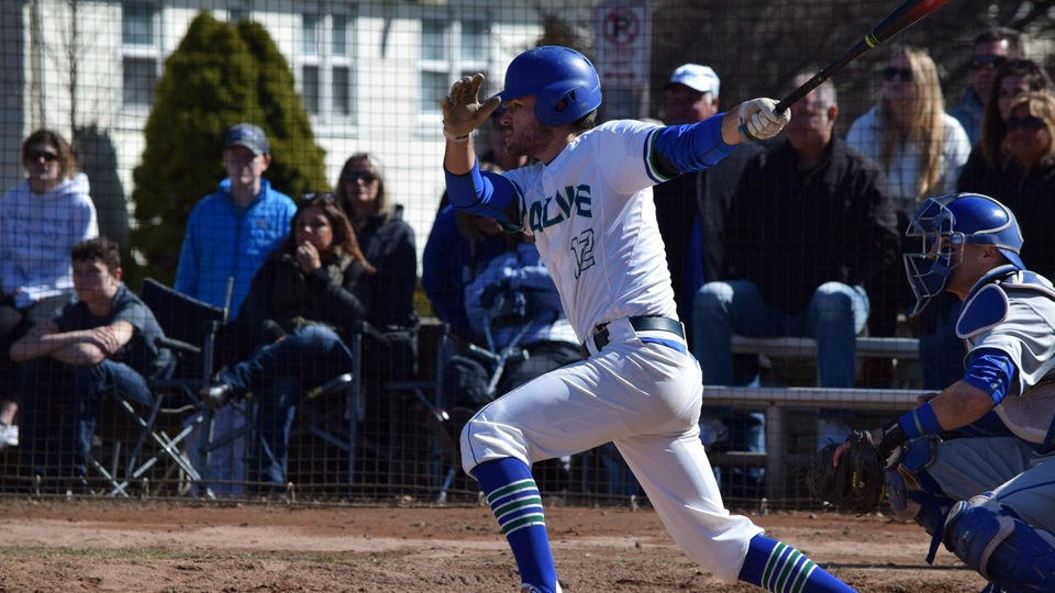 Riley Fusaro's single to right field in the bottom of the seventh inning of Game One drove in pinch-runner Brody Santilli from second base with the only run of the game. Salve Regina swept Roger Williams, 1-0 and 8-3. (Photo by Brooke Scoca)