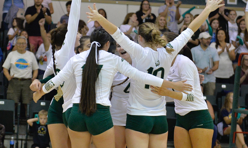 VOLLEYBALL MOVES INTO FIRST PLACE AFTER SWEEP OF WEBER STATE