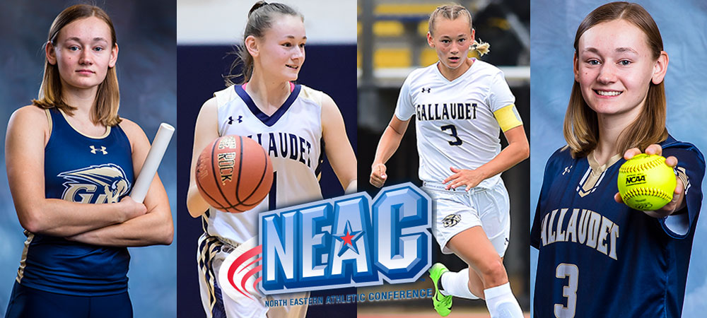 GU four-sport standout Sabina Shysh is featured in four different photos playing four different sports. Left to right: track and field, basketball, soccer and softball. A NEAC logo is in the middle of the photo.