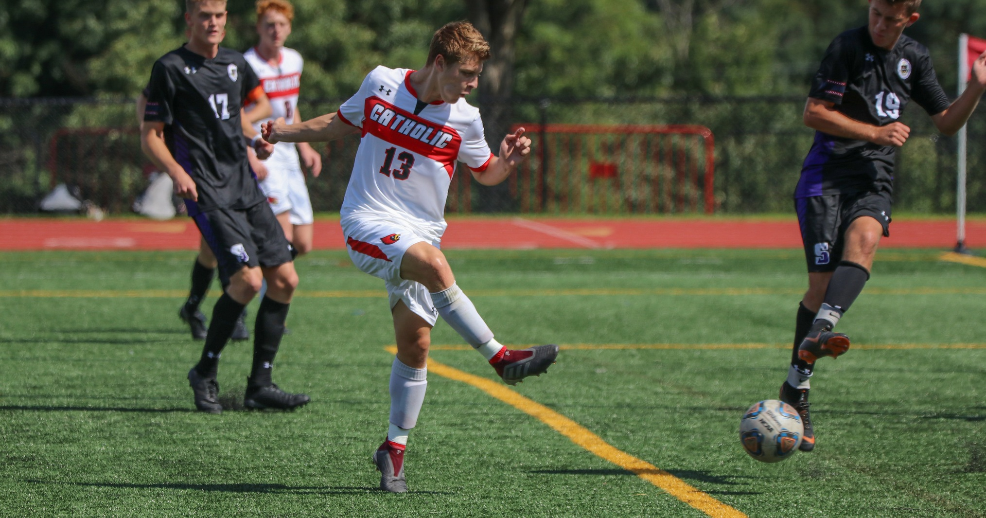 Men's Soccer Beats Scranton to Open Landmark Play, 2-1