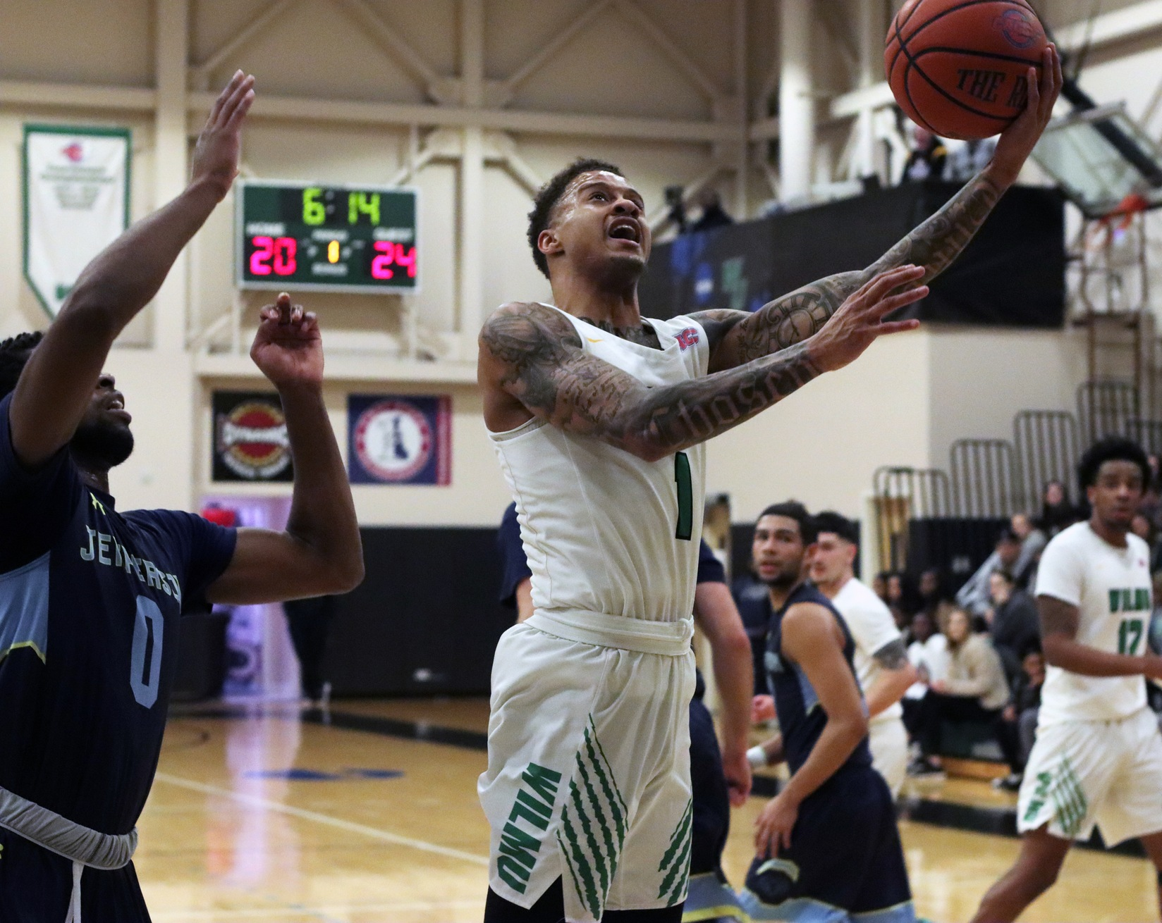 Photo of Jermaine Head who scored 20 points, 8 rebounds, and 7 assists, becoming the all-time leader in assists at WilmU on Wednesday night. Copyright 2020; Wilmington University. All rights reserved. Photo by Laura Gil. February 12, 2020 vs. #10/11 Jefferson.