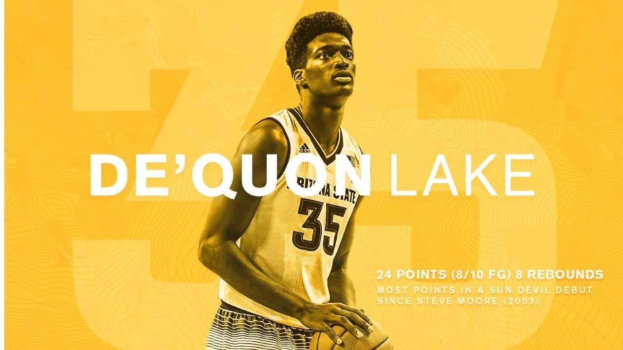 Former Iowa Western Reiver and NJCAA All-American De'Quon Lake had one of the greatest debuts in Arizona State Sun Devil basketball history to tip-off the 2017-18 season.