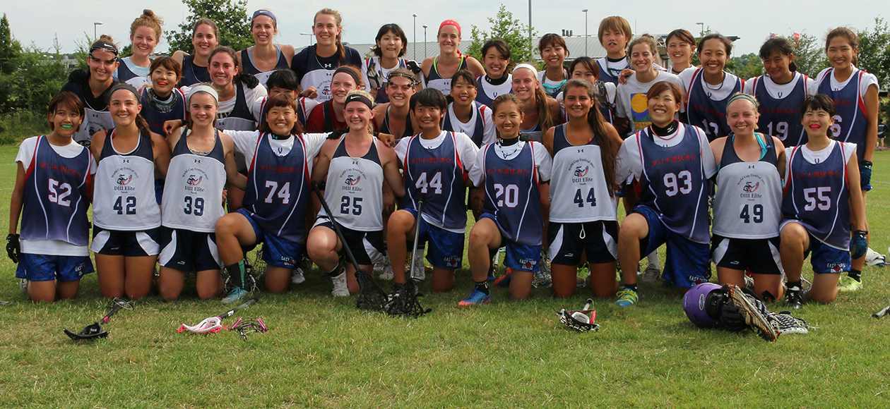 Erin McCarthy poses with her teammates at the World Cup Lacrosse Festival.