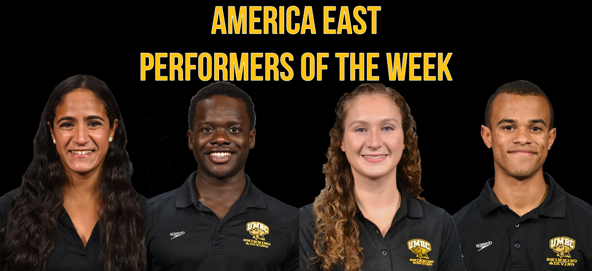 Hania Moro (L), Philip Adejumo, Abby Biddulph, and Elijah Wright were all honored as America East Performers of the Week.