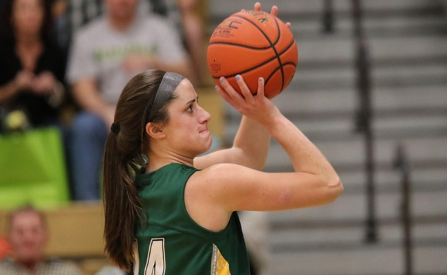 Senior Katie Stuart (14) had 23 points and 18 rebounds in her final game at the JMW Center -- Photo by Abdul Alhumayni