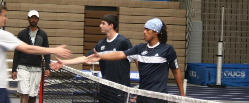 Michael Secular '15 (right) along with doubles partner Ben Fine '15