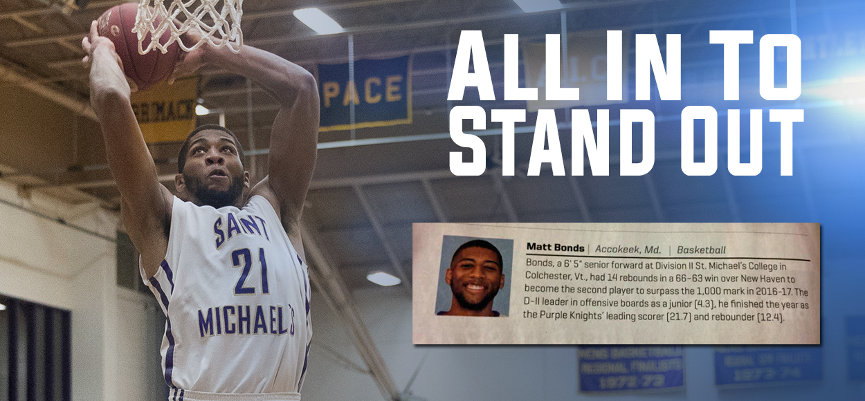 "Saint Michael's Standout Matt Bonds appears in Sports Illustrated's ""Faces in the Crowd"""