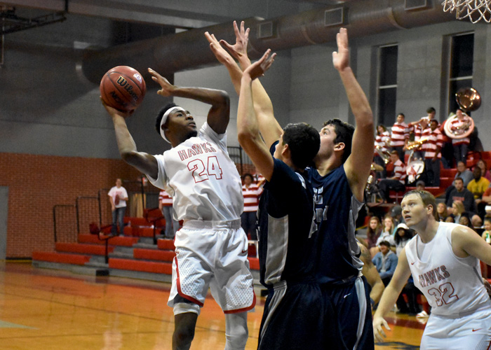 Junior Kyante Pines (#24), in his first game as a Hawk, had 23 points, six rebounds, two assists, two steals and a block in Wednesday's 88-79 win over Berry College.