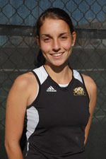 Kim Berghaus won in both singles and doubles at Binghamton.