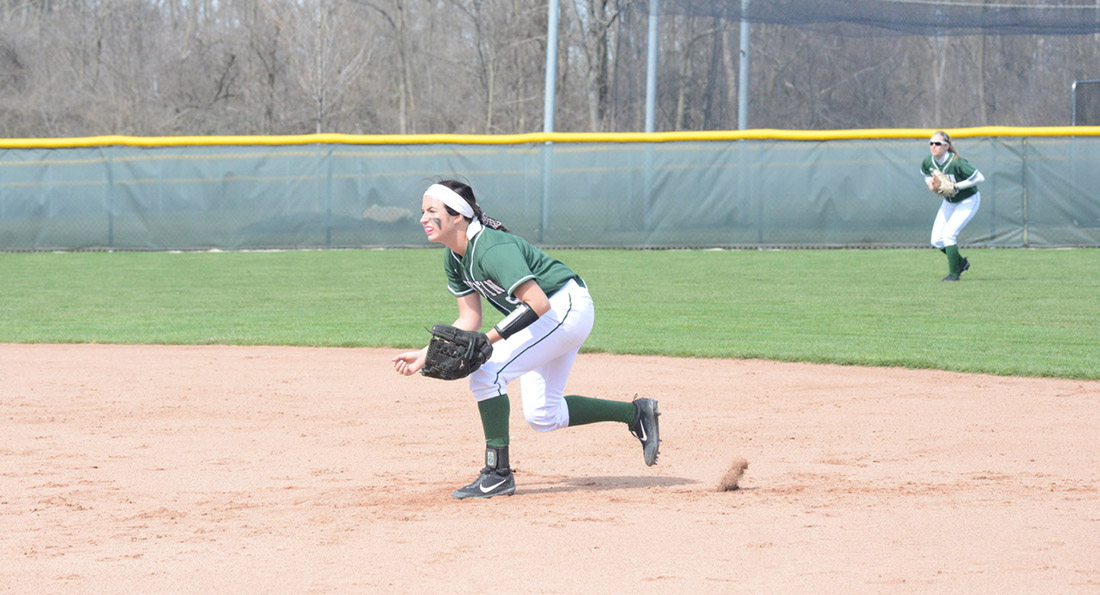 Second baseman Kate-Lynn Urgo charges a ground ball.