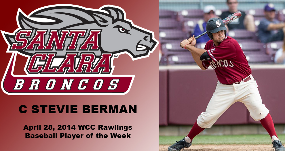 Berman Named WCC Rawlings Baseball Player of the Week
