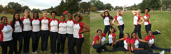 two team photos of the bc dance team