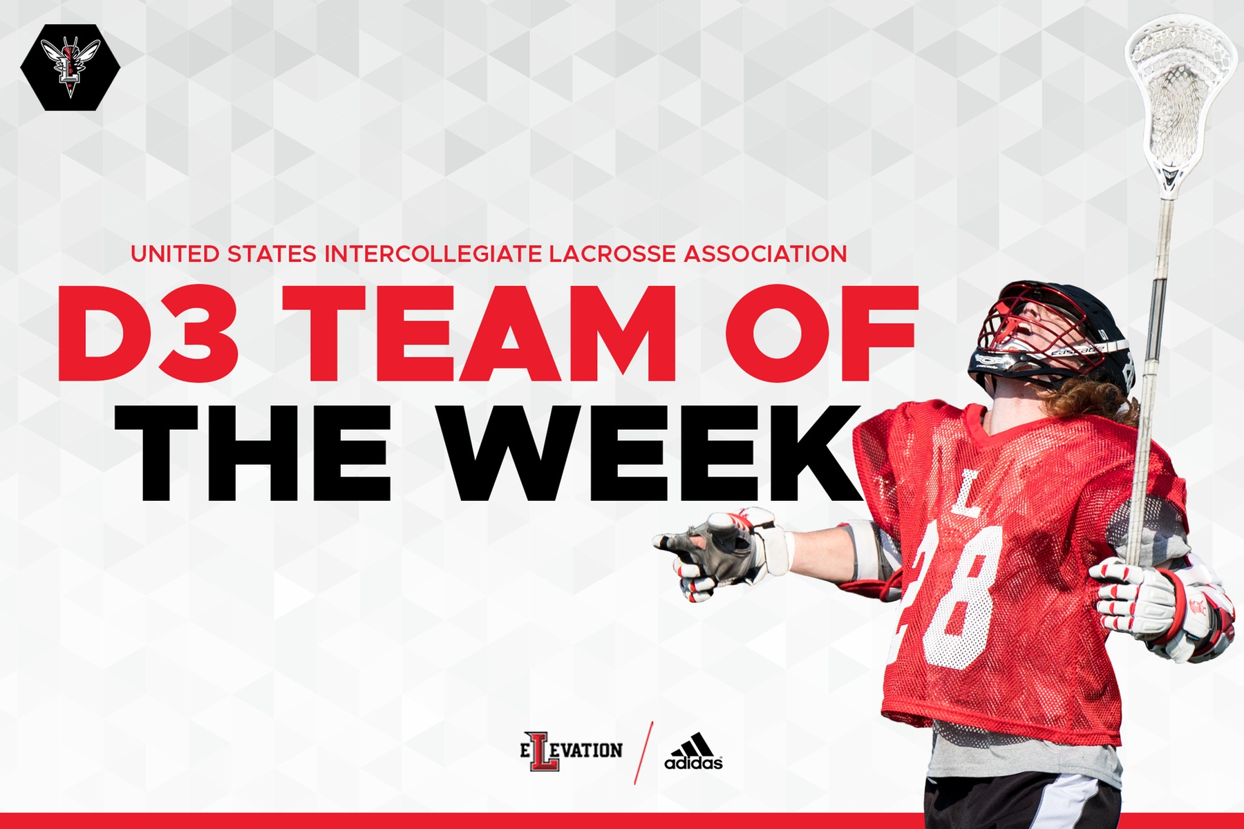 D3 team of the week graphic with Kevin Rogers holding lacrosse stick on white background.