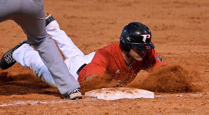 Luke Parker stole two bases , tying the school record for steals in a season (40). (Photo by Tom Hagerty, Polk State.)