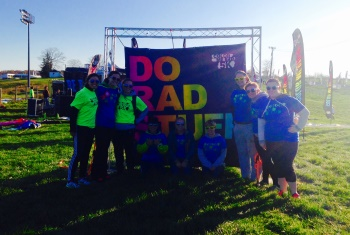 Hollins student-athletes at the Color Me Rad fund raising event for Va. Special Olympics