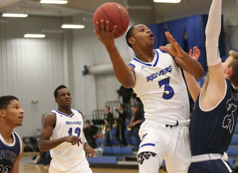 Marques Watson (#3) scored 11 points, while Amadou Sylla (#12) scored a game high 18 points and 14 rebounds as the Reivers defeated Southeast (NE) 93-61 at Reiver Arena.