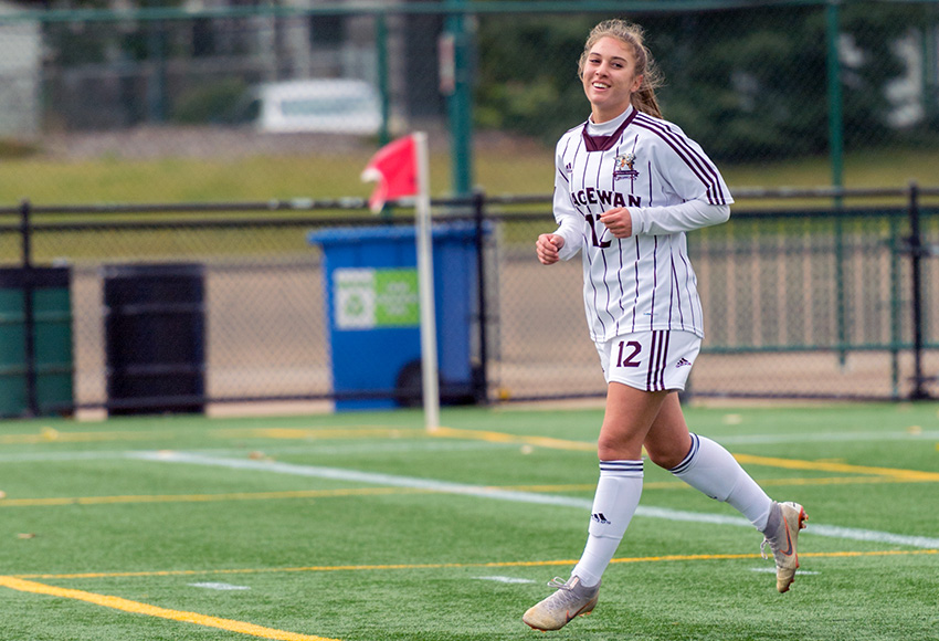 Salma Kamel scored a program-record four goals and added an assist as the Griffins waxed the Mount Royal University Cougars 7-1 on Tuesday (Chris Piggott photo).