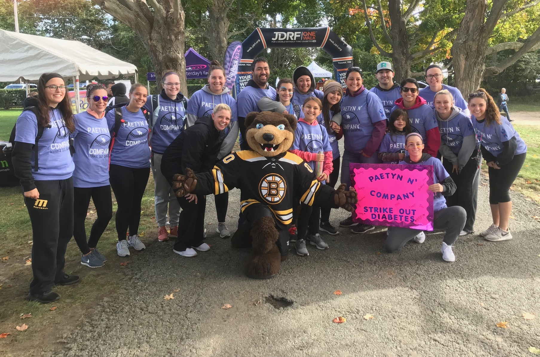 Softball Team Walks with Team IMPACT Member at JDRF One Walk