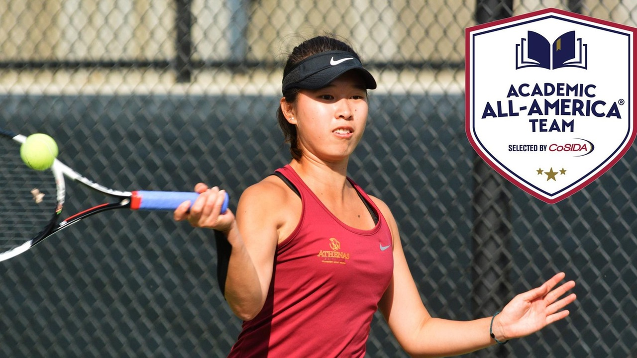 Nicole Tan hits a forehand, with the Academic All-America logo superimposed over the photo