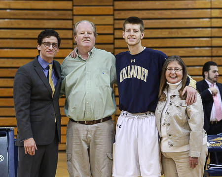 Gallaudet's Layton Seeber with his parents and Coach Stern