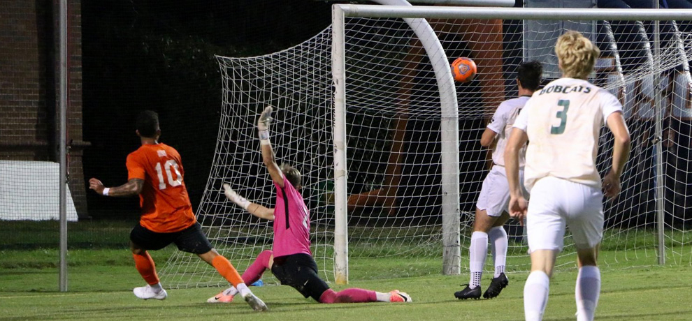 Henrique Devens scores for the Pioneers in the 68th minute (photo by Mikala Brown)