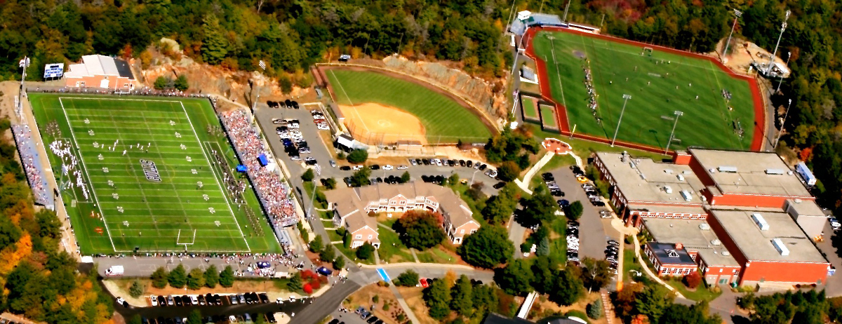 Aerial view of the athletic facilities on Endicott's main campus.