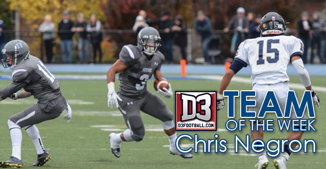Negron Named to D3football.com Team of the Week