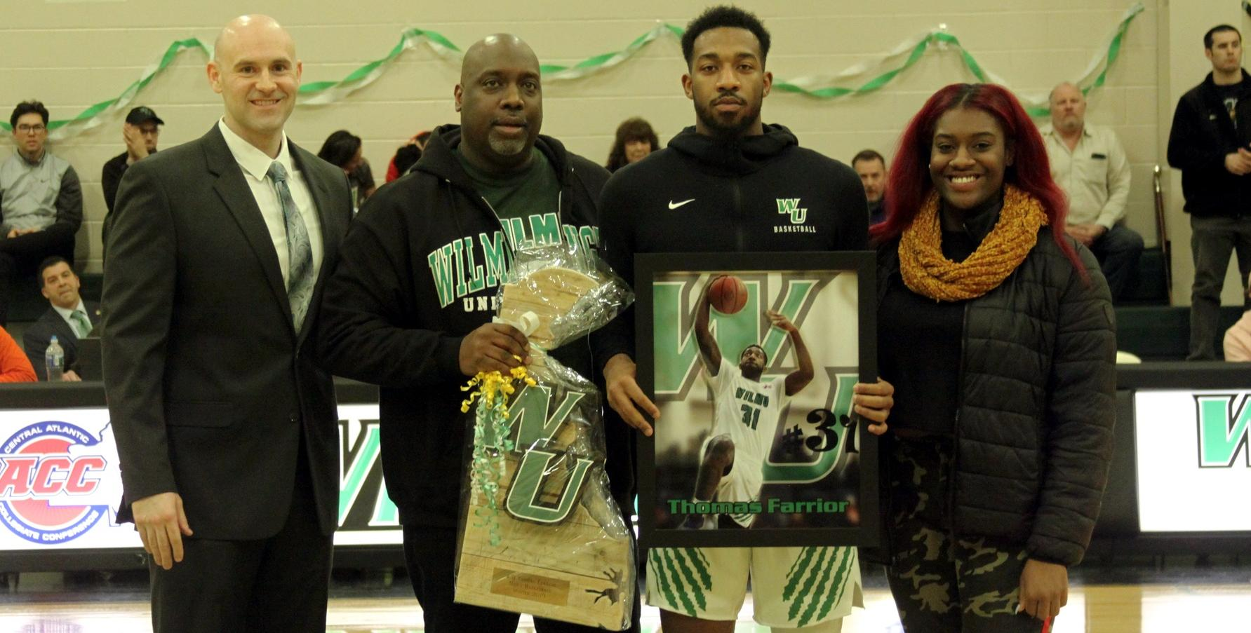 Copyright 2019; Wilmington University. All rights reserved. Photo of Thomas Farrior on Senior Night. Photo by Samantha Kelley. February 27, 2019 vs. Holy Family.