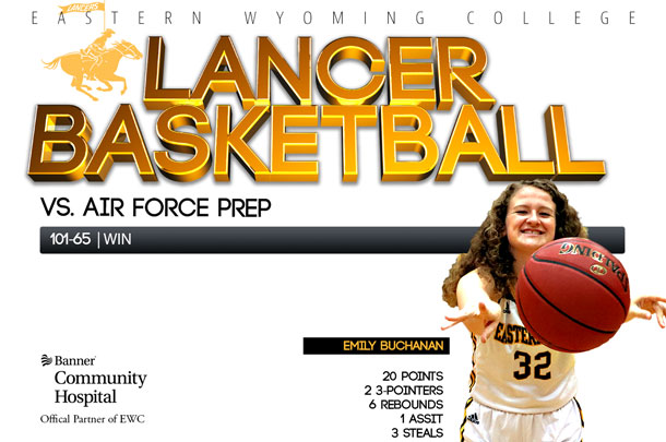 Eastern Wyoming College Lady Lancer Basketball team vs. Air Force Prep Basketball team