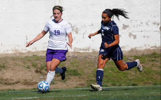 After sitting out the 2013 season with an injury, senior Kelsy O'Kane returned to action today and scored two goals to lead the Royals to a 6-0 victory over Eastern University at the Haverford College Kick-Off Classic.