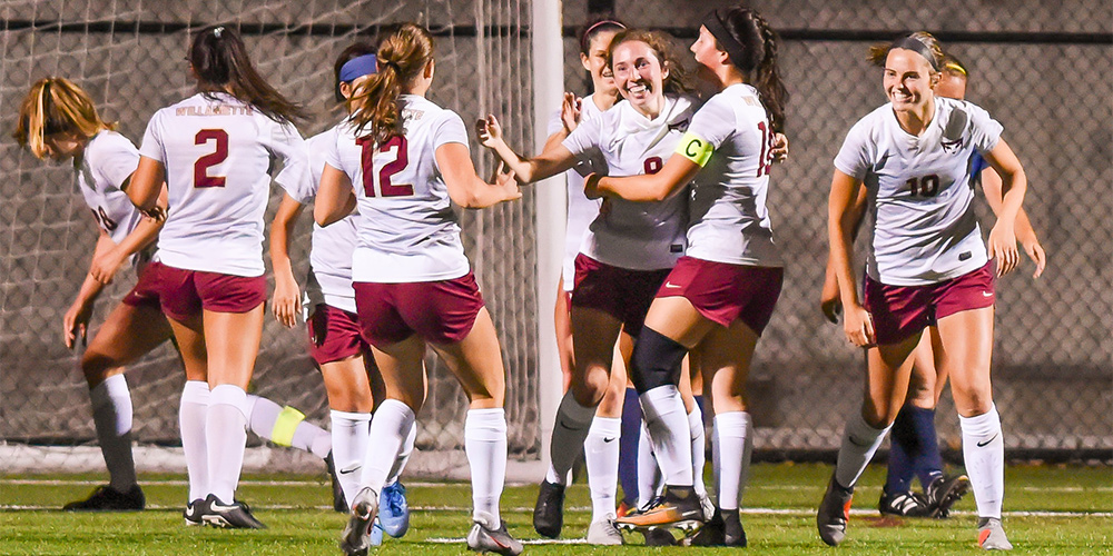 Jackie Gilroy (#9, Fy., F/M, Mercer Island, WA/Mercer Island HS) celebrates with teammates after scoring against Corban on Aug. 30, 2019