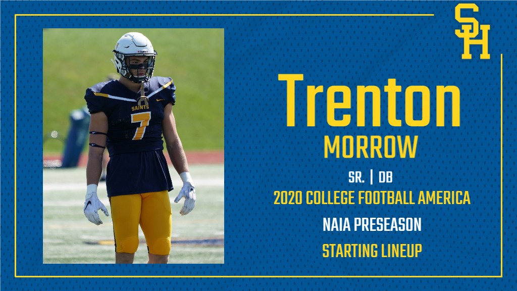 Trenton Morrow Selected to 2020 College Football America Yearbook NAIA Starting Lineup; Saints Chosen 16th in NAIA Preseason Top 30