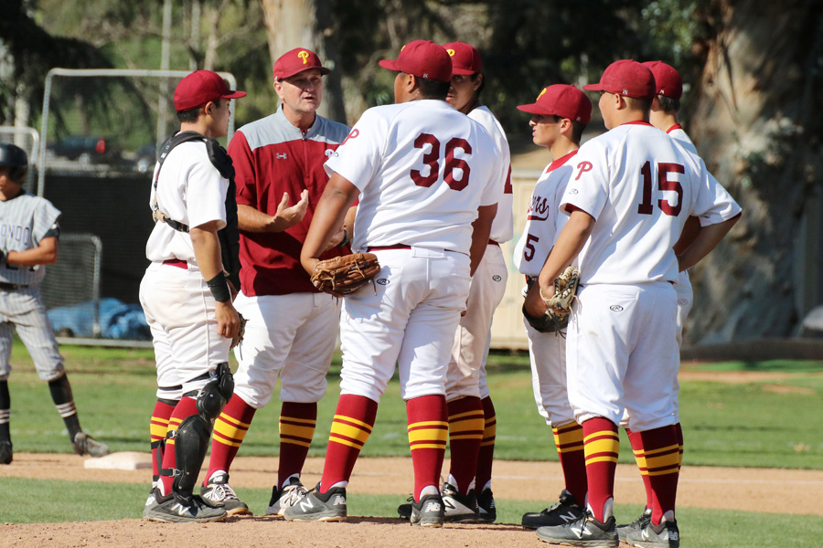 PCC Coach Pat McGee has a chance to direct his 20th victory this season as the Lancers open a 3-game series Tuesday v. Mt. San Antonio, photo by Richard Quinton.