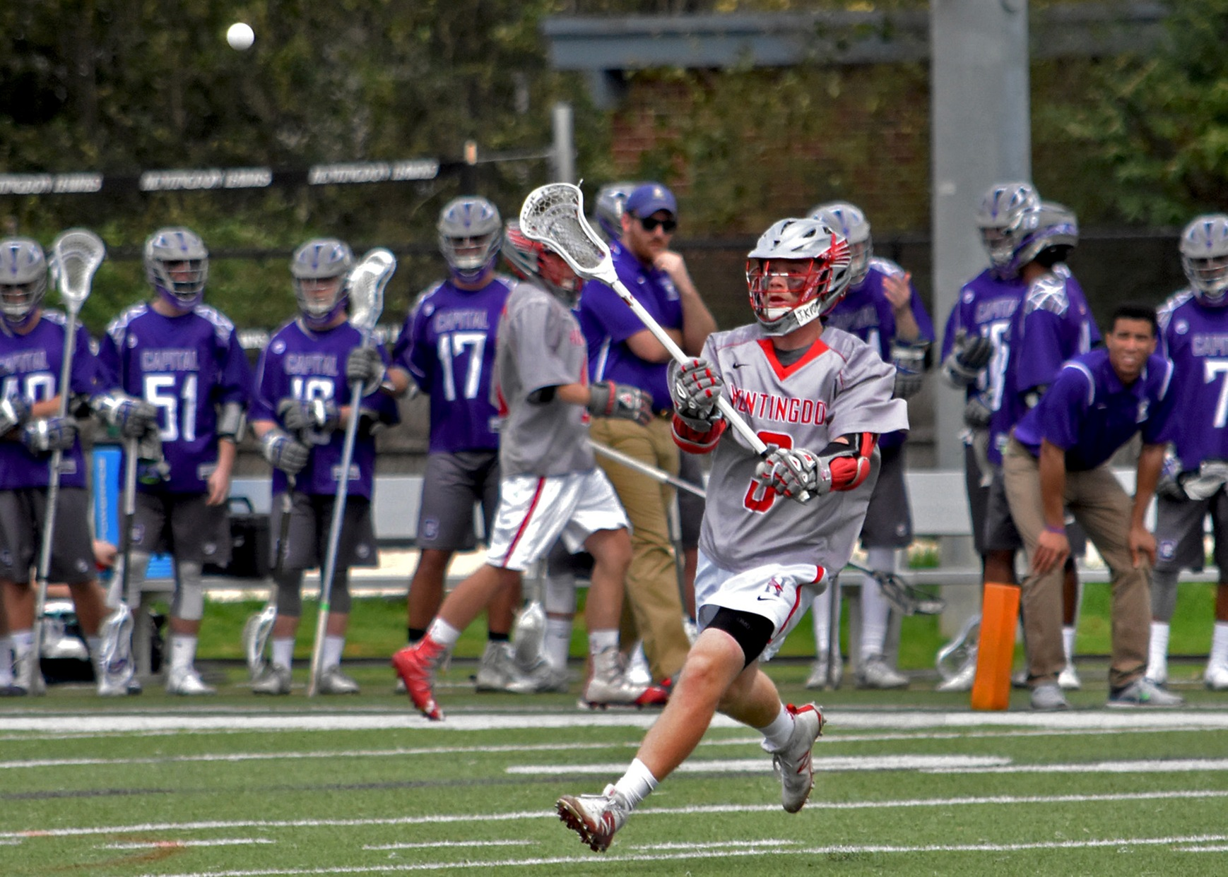 Sophomore Miles Stading scored four goals in Monday's 15-10 loss to Southwestern. (Photo by Wesley Lyle)