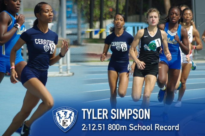 Tyler Simpson set the school record in the 800 meters