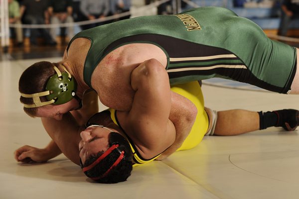Joe Camlin pins Robert Scarmuzza for the CC title. (Photo courtesy of Johns Hopkins University.)