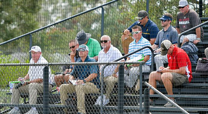 Scouts watch and take notes as Eagles play an intrasquad baseball game. (Photo by Tom Hagerty, Polk State.)