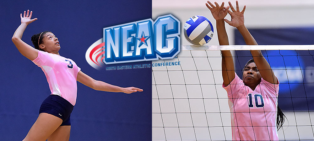Darriyan Thomas (left) goes up to hit a volleyball while Shua Clay (right) makes a block on a volleyball attack in a match. A North Eastern Athletic Conference logo is in the middle of the image. The two players are wearing special pink jerseys. Thomas is wearing #3 while Clay wears #10.