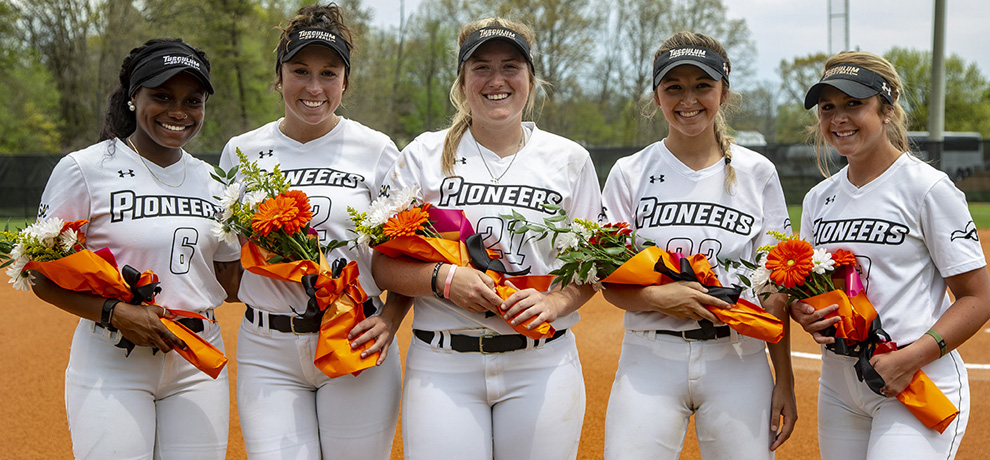 Seniors Taylor Battle, Emily White, Emily Hester, Morgan Mahaffey and Taylor Plemons were honored prior to Saturday's doubleheader (photo by Chuck Williams)