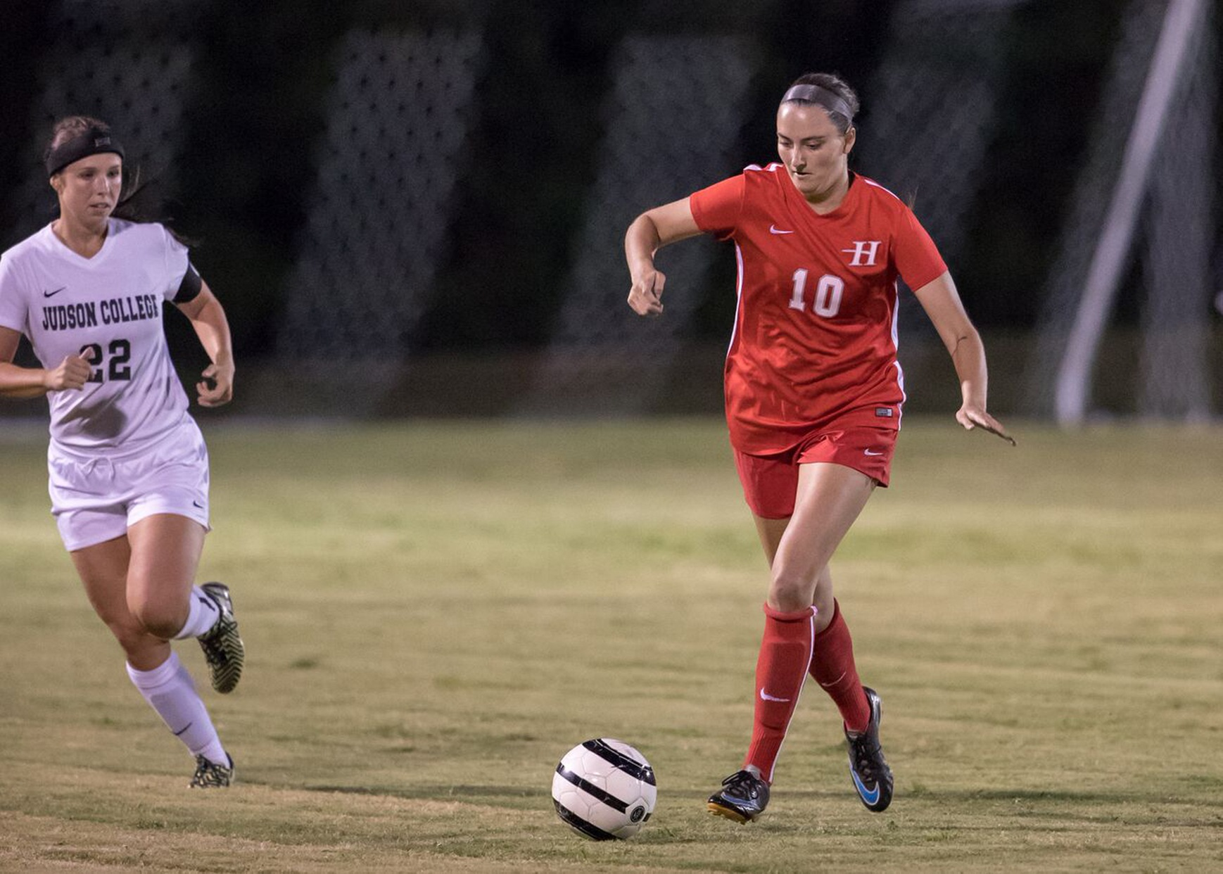 Shelby Clark scored Huntingdon's goal in a 1-1 double overtime tie at Wesleyan on Saturday. (Photo by Lisa Pearson)